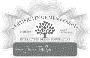 Zertifikat der Mitgliedschaft bei der Interaction Design Foundation