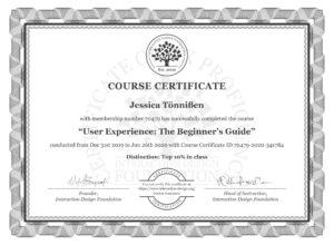 Zertifikat über UX-Design-Kurs